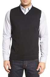 John W. Nordstromr Men's Big And Tall Nordstrom V Neck Merino Wool Sweater Vest Black Caviar