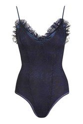 Topshop Lace Woven Frill Body Navy Blue