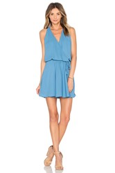 Krisa Surplice Flounce Dress Blue
