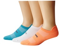 Feetures Hp Ultra Light No Show Tab 3 Pair Pack Aqua Coral White No Show Socks Shoes Multi