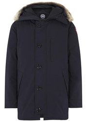 Canada Goose Chateau Navy Fur Trimmed Twill Parka