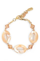 Dabby Reid Semiprecious And Crystal Bracelet Ivory Mother Of Pearl