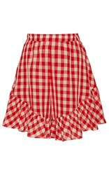Creatures Of Comfort Neon Gingham Pleated Mini Skirt Red