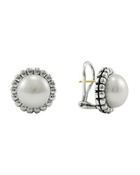 Lagos Sterling Silver Fluted Freshwater Pearl Earrings White Silver