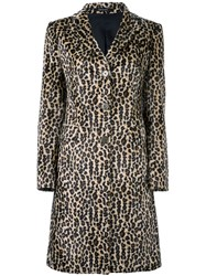 Tagliatore Animal Print Coat Brown