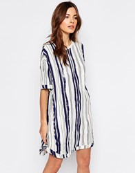 Selected Gemi Dress In Stripe Print Snow White