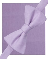 Alfani Spectrum Seasonal Solid Pre Tied Bow Tie And Pocket Square Set Only At Macy's Lilac