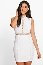 Boohoo Ria Crochet Lace Panelled Bodycon Dress White