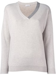 Brunello Cucinelli V Neck Sweater Nude And Neutrals