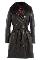 Boutique Moschino Belted Leather Coat With Fur Collar Black