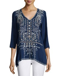 Johnny Was Paizyn 3 4 Sleeve Embroidered Blouse Blue Night