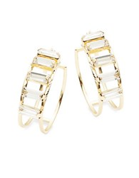 Rj Graziano Baguette Accented Clickback Hoops 1 In. Gold