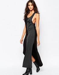 Aka Drop Arm Sleeveless Jersey Dress Black