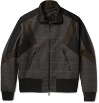 Neil Barrett Nei Paneed Prince Of Waes Checked Woo Bend Bomber Jacket Brown