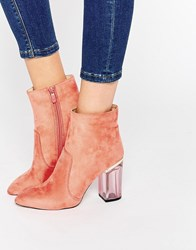Public Desire Claudia Pink Clear Heel Ankle Boot Coral Mf