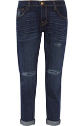 Current Elliott The Fling Distressed Mid Rise Boyfriend Jeans Dark Denim