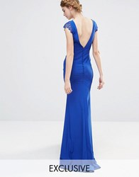 Jarlo Wedding Fishtail Maxi Dress With Lace Cap Sleeve And Button Back Navy