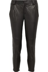 Vince Moto Leather Skinny Pants Black