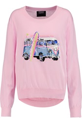 Markus Lupfer Joey Sequin Embellished Cotton Sweater Pink