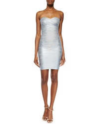 Herve Leger Strapless Metallic Bandage Dress Ice Gray