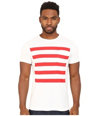 French Connection Chatsworth Space Stripe White Flame Scarlet Men's Clothing Multi
