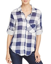 Side Stitch Roll Sleeve Check Shirt Navy