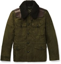 Ralph Lauren Purple Label Shearling And Leather Tried Suede Field Jacket Green