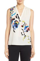 Women's Classiques Entier Stretch Silk Shirred V Neck Top Ivory Cloud Placed Floral