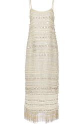 Rachel Zoe Keegan Lace Up Embellished Silk Chiffon Dress Off White