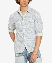 Denim And Supply Ralph Lauren Men's Floral Print Long Sleeve Shirt White