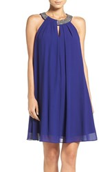 Vince Camuto Women's Chain Neck Chiffon Trapeze Dress Royal