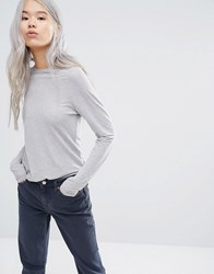 Weekday Long Sleeve T Shirt Grey Melange