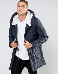 Brave Soul Borg Lined Hooded Parka Jacket Navy