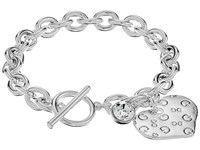 Guess Logo Heart Toggle Bracelet Shiny Silver Crystal Bracelet