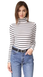 Club Monaco Julie Stripe Turtleneck Blanc Aviator