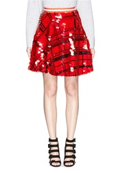 Preen 'Carol' Sequin Plaid Check Crepe Flare Skirt Red