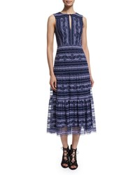 Nanette Lepore Sleeveless Lace Embroidered Midi Dress Blue Purple Multi Blue Purple Multi
