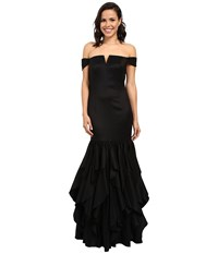 Adrianna Papell Off Shoulder Mermaid Ruffle Gown Black Women's Dress