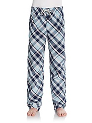 Psycho Bunny Plaid Cotton Lounge Pants Navy Pink