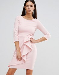City Goddess 3 4 Sleeve Waterfall Peplum Midi Dress Light Pink As Pictu