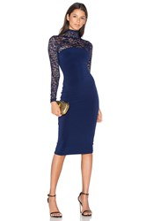 Nookie Rebel Heart High Neck Midi Dress Navy