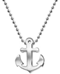 Alex Woo Anchor Beaded Pendant Necklace In Sterling Silver