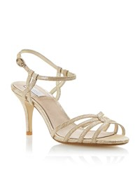 Untold Heathers Fabric Strappy Stiletto Sandals Gold