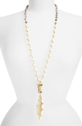 Heather Benjamin Beaded Carved Feather Pendant Necklace Cream Gold