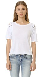David Lerner Lace Up Sleeve Tee Soft White