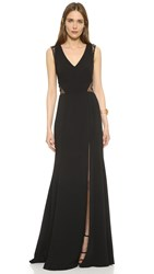 Marchesa Lace Panel Gown Black