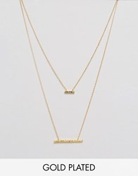 Gorjana Mave Hammered Double Pendant Necklace Gold