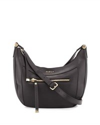 Furla Ginevra Pebbled Leather Crossbody Bag Black