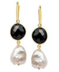Macy's Cultured Freshwater Pearl 11 1 2Mm 15 1 2Mm And Onyx 10 14Mm Earrings In 18K Gold Over Sterling Silver