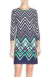 Petite Women's Eliza J Chevron Jersey Shift Dress Blue